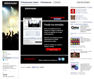 Faceook Fan Page Ticketmaster
