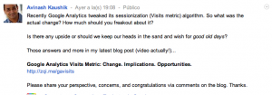 Pantallazo Post Avinash Google+