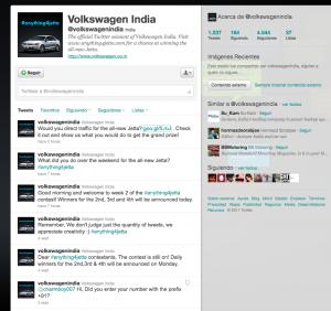 Pantallazo twitter Volkswagen Jetta India