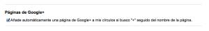 Activación añadir Google+ Page a mis círculos
