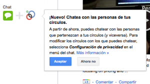 Pantallazo chat Google Plus