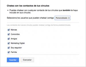 Privacidad Chat de Google Plus