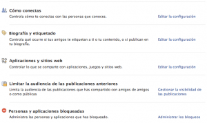 Privacidad Aplicaciones Facebook