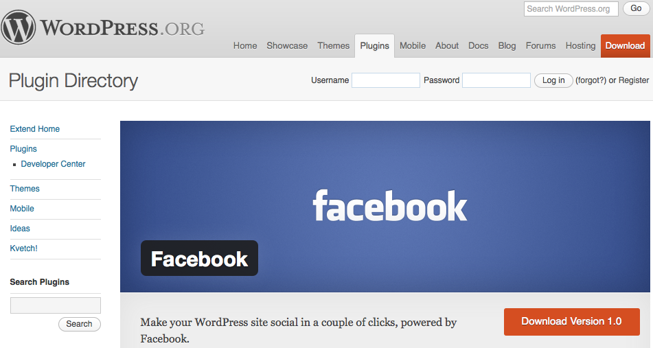 Facebook plugin para WordPress