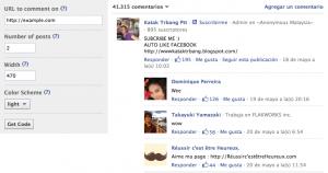 Caja comentarios plugin Facebook