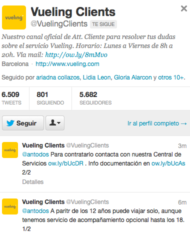 Vueling Clients Perfil Twitter