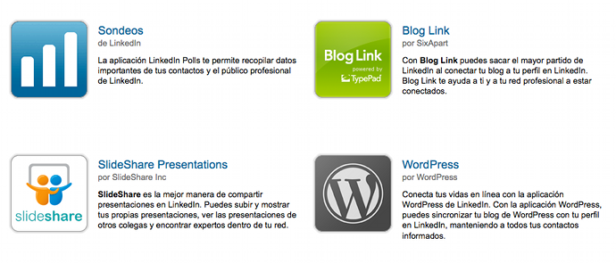 Linkedin aplicaciones para blog