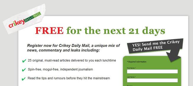 Crikey Landing Page