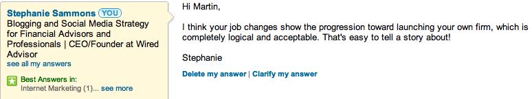 Respondiendo preguntas en Linkedin