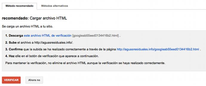 Verificar site Google Webmaster