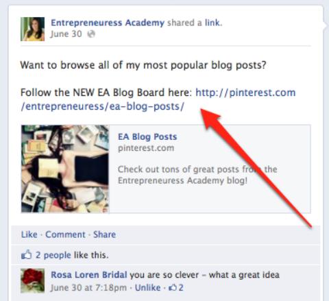 Post Facebook Pinterest