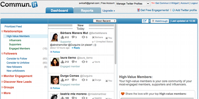 Commun.it dashboard