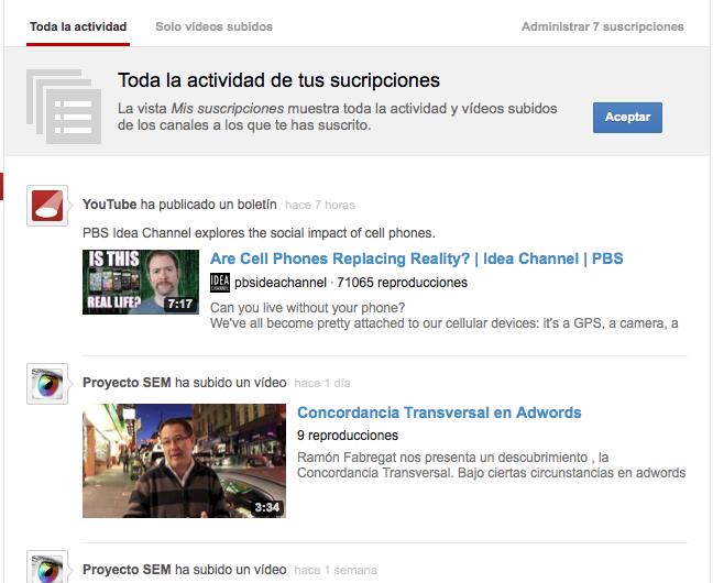 Suscripciones Youtube