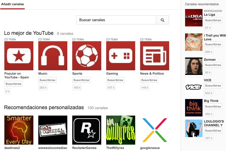 Buscar Canales Youtube