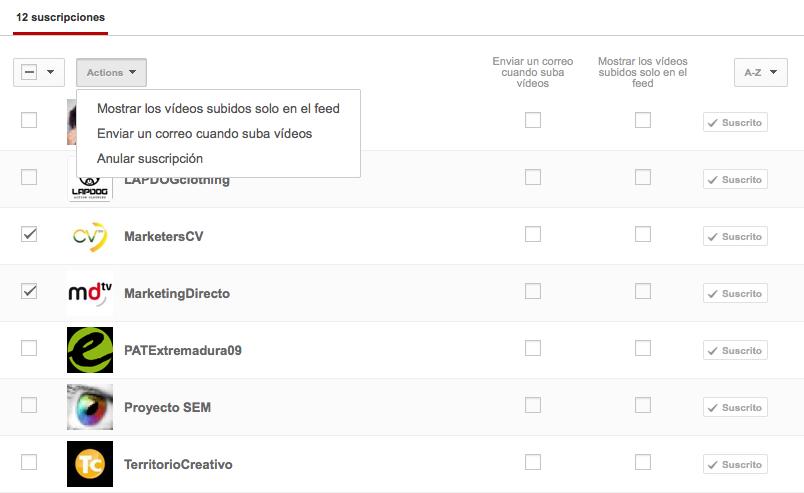 Youtube Gestion Suscripciones