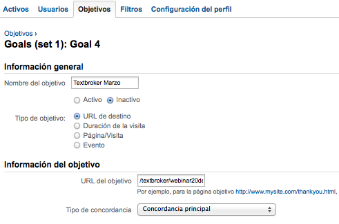 Objetivos en Google Analytics