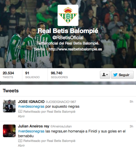 Campaña Twitter Real Betis