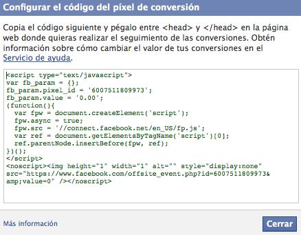 Codigo de conversión Facebook