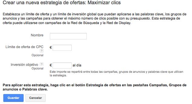 Maximizar clics Adwords