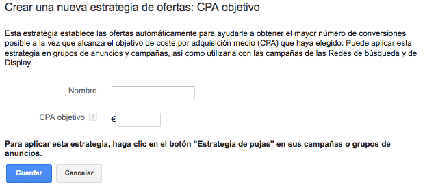 CPA Objetivo Adwords