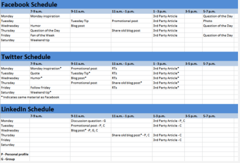 Calendario contenidos Facebook