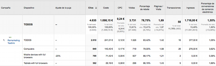 Ajuste Pujas Google Analytics