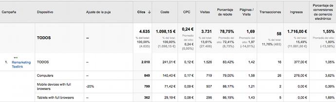Ajuste Pujas Google Analytics