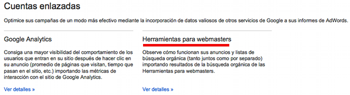 Enlazar Adwords y Webmasters Tool