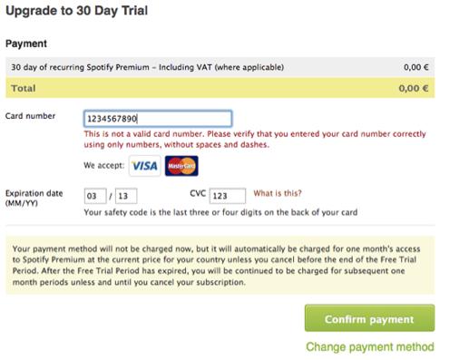 Proceso de pago Spotify