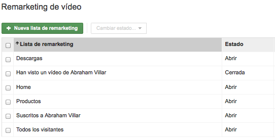 Listas de remarketing Youtube