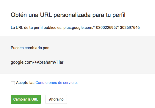 Pasos URL unica Google Plus