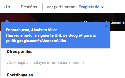 Confirmación URL unica Google Plus