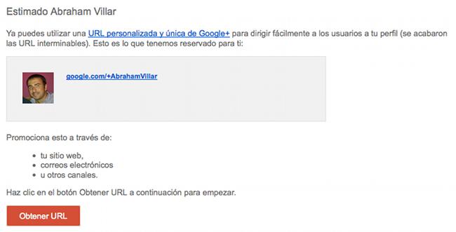 URL unica Google Plus
