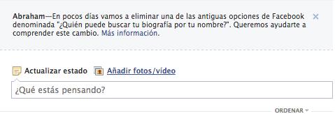 Facebook Elimina Quien Puede buscar tu biografía