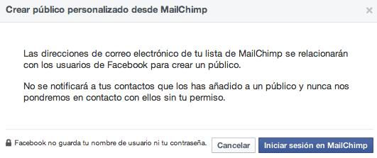 Enlazar Mailchimp con Facebook