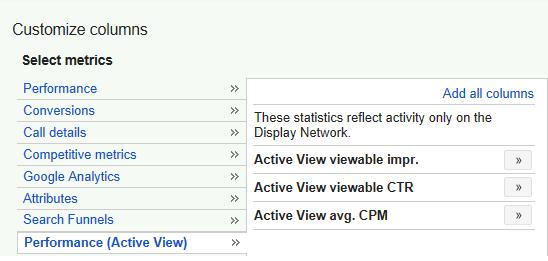 Impresiones vistas metricas Adwords