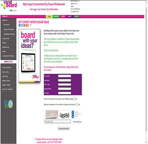 Landing Page Vivid Board