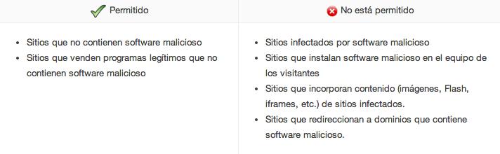 Sitios permitidos y no permitidos Adwords