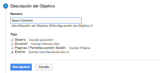 Evento Objetivos Google Analytics